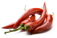 Red hot chili peppers. On a white background Stock Photography