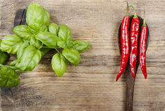 Red hot chili peppers and basil leaves on wood Stock Images