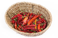 Red hot chili peppers in basket Stock Photo
