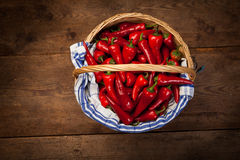 Red Hot Chili Peppers in Basket Royalty Free Stock Photo