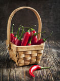 Red Hot Chili Peppers in basket. Stock Photos