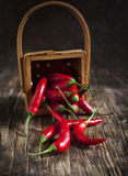 Red Hot Chili Peppers in basket on the wooden background. Stock Images