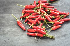 Red hot Chili peppers. On black slate Stock Photo