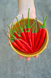 Red Hot Chili Peppers in bowl. Over wooden background Stock Photography