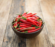 Red Hot Chili Peppers. In bowl over wooden background Royalty Free Stock Image