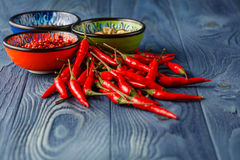 Red Hot Chili Peppers in bowl on rustic wood background.Space fo Royalty Free Stock Image