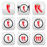 Red hot chili peppers buttons set Stock Images