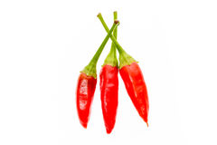 Red hot chili peppers Cayenne, Serrano with green stem. Stock Photos