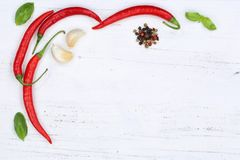 Red hot chili peppers chilli cooking ingredients copyspace backg Stock Photos