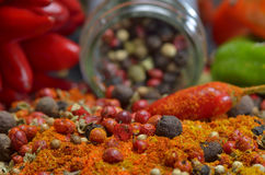 Red hot chili peppers and colors spices composition Royalty Free Stock Photo