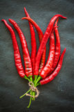 Red hot chili peppers on dark gray stone background, top view Stock Photography
