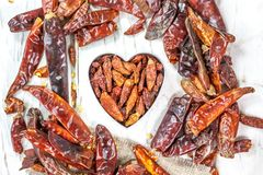 Red hot chili peppers in form of heart. Red hot chili peppers in form of heart Royalty Free Stock Photos