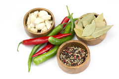 Red hot chili peppers, garlic and spices Royalty Free Stock Photo