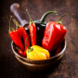 Red hot chili peppers, habanero sweet pepper and jalapeno. Assorted Red hot cayenne chili peppers,habanero colorful yellow and red sweet pepper displayed ready Royalty Free Stock Photos