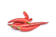 Red Hot chili peppers isolated on white. Background Stock Images