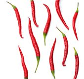 Red hot chili peppers isolated on white background top view Stock Photo
