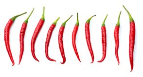 Red hot chili peppers isolated on white background top view Royalty Free Stock Image