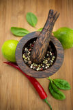 Red Hot Chili Peppers, lime and spices with Mortar and Pestle Stock Photos