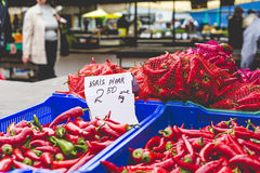 Red hot chili peppers in local market Royalty Free Stock Photography