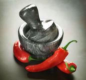 Red Hot Chili peppers and mortar Stock Image