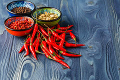 Red hot chili peppers and other spices Stock Photos