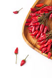 Red hot chili peppers over white Royalty Free Stock Photography