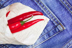 Red hot chili peppers in paper bags Royalty Free Stock Photography