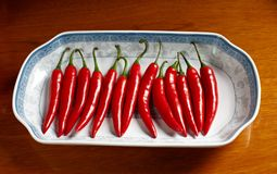 Red hot chili peppers. In plate Royalty Free Stock Photos