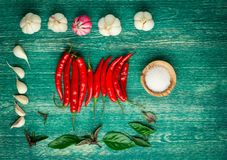 Red hot chili peppers with spice ingredients and Stock Photo