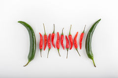 Red hot chili peppers on a table Royalty Free Stock Image