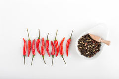 Red hot chili peppers on a table Royalty Free Stock Images