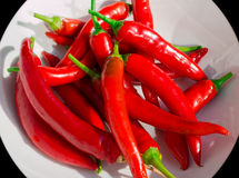 Red Hot Chili Peppers On White Plate Royalty Free Stock Photos