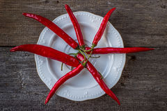 Red hot chili peppers on a white plate, on old wooden table Royalty Free Stock Photography