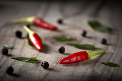 Red hot chili peppers. On wood background with black pepper Stock Photography