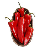 Red hot chili peppers in wooden bowl Stock Photo