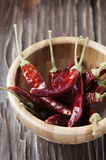 Red hot chili peppers in the wooden bowl Stock Images
