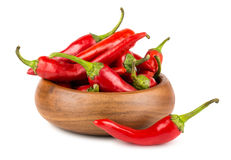 Red hot chili peppers in wooden bowl Stock Image