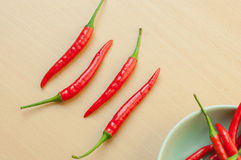 Red hot chili peppers on the wooden desk. Four Red hot chili pepper on cutting board Royalty Free Stock Image