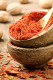 Red hot chili powder and flakes Royalty Free Stock Photography