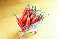 Red hot chili in shopping cart Royalty Free Stock Photography