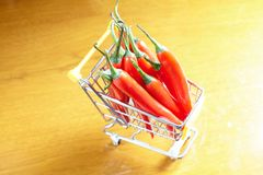 Red hot chili in shopping cart Royalty Free Stock Images