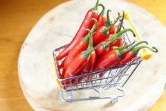 Red hot chili in shopping cart Stock Photo
