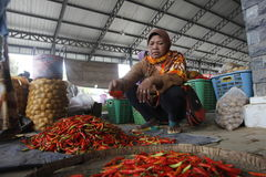 Red hot chili. In the traditional markets slopes of Mount Merapi, Central Java, Indonesia Stock Images