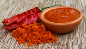 Red hot chilies with powder and paste Royalty Free Stock Photography