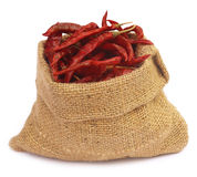 Red hot chilies with a sack Stock Photo