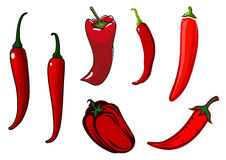 Red hot chilli, cayenne and bell peppers Stock Images