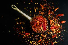 Red hot Chilli Chillies pepper on black Royalty Free Stock Photo