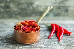 Red hot Chilli Chillies pepper on black Royalty Free Stock Photography