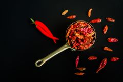Red hot Chilli Chillies pepper on black Stock Photography