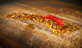 Red Hot Chilli Concept. Chilli sits atop chilli seeds shaped like a chilli stock illustration